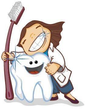 niña dentista cepillo y muela